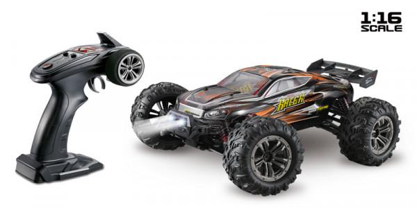 "1:16 Green Power Elektro Modellauto High Speed Race Truck - Truggy ""RACER"" schwarz/orange 4WD RTR"