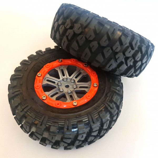 Crawler Räder 110x40mm für 1:10 grau orange 12mm Mitnehmer