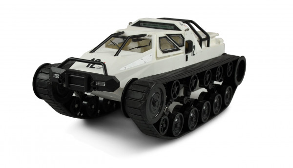 Ferngesteuertes Ketten-Drift-Fahrzeug 1:12 Military Police weiß inkl. Akku, Ladegerät & Sender