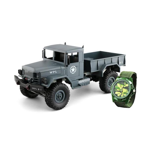 Ferngesteuerter U.S. Militär Truck / LKW 4WD 1:16 RTR grau + camouflage uhr NEU & Scheinwerfern vor