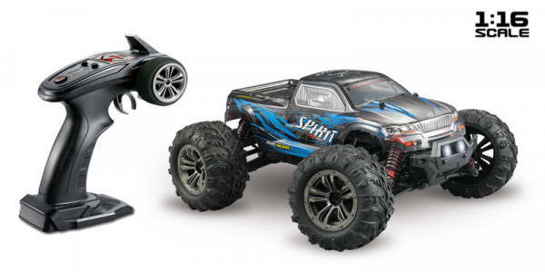 "1:16 Green Power Elektro Modellauto High Speed Monster Truck ""SPIRIT"" schwarz/blau 4WD RTR"
