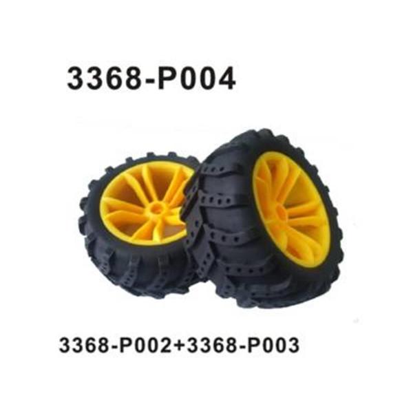 3368-P004 Komplettrad vorne / hinten 2 Stück gelb