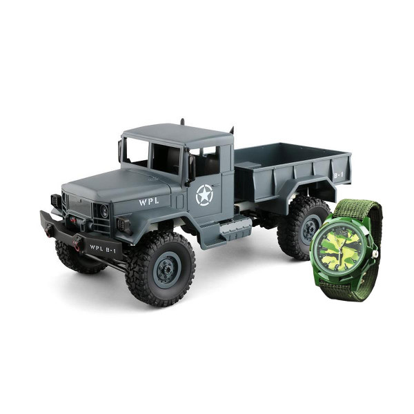 U.S. Militär Truck 4WD 1:16 RTR grau + Uhr