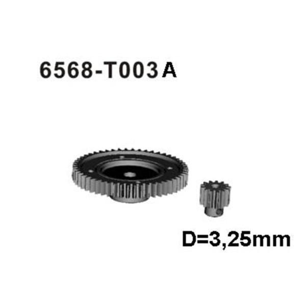 6568-T003A Hauptzahnrad+Motorritzel Stahl